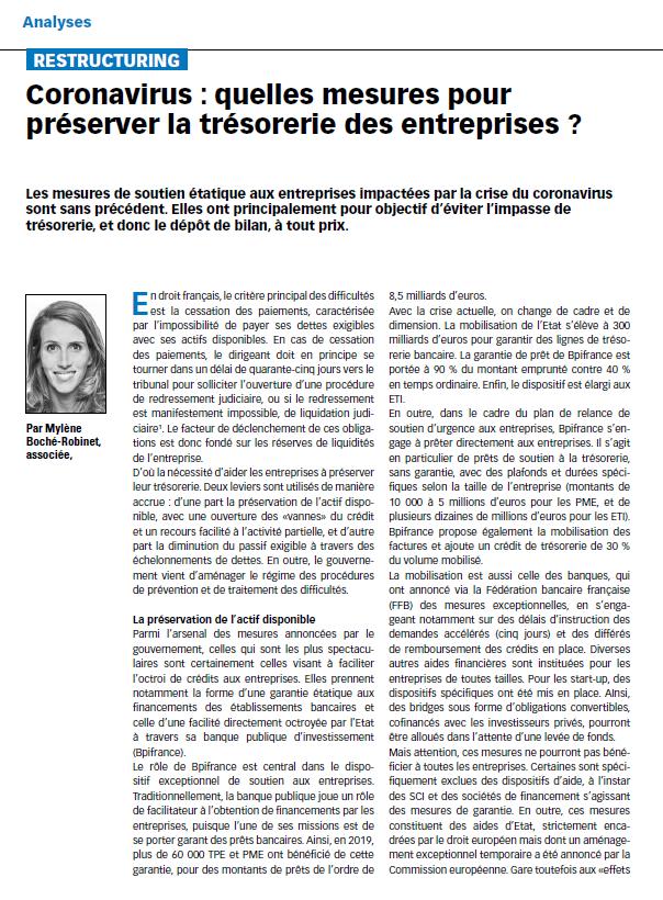 Coronavirus : quelles mesures pour préserver la trésorerie des entreprises ?