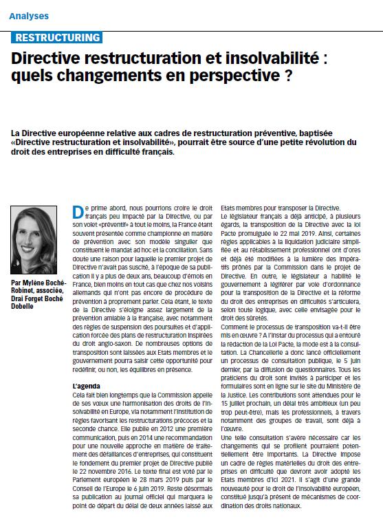 Directive restructuration et insolvabilité : quels changements en perspective ?